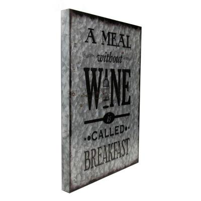 Boxman Metal Wall Art A Meal Without Wine is Called Breakfast - DV17544